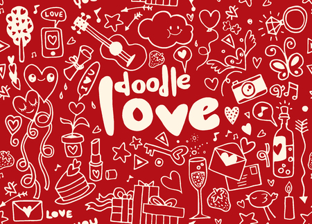 Love hand lettering and doodles elements sketch background. seamless background doodle vector. Illusztráció