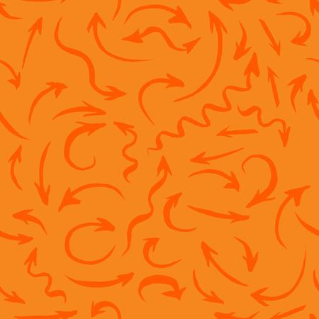 手の描かれた矢印は、シームレスな背景落書きベクトルの方向描画鉛筆スケッチ矢印ベクトル イラストレーション、グラフィック要素デザインのコ