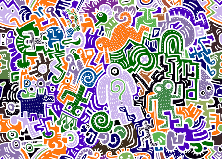 Hipster Hand drawn Crazy doodle Monster City,drawing seamless background doodle vector.Vector illustration.