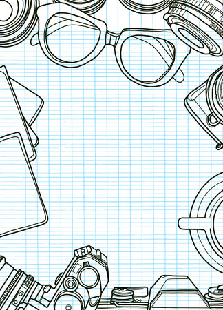 Hand Drawn Vector Illustration ,Top view of retro camera and lens, set of cool photography on background, Close up top view with space for text,Voyage concept