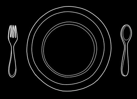 Esbozo de logotipo dibujado a mano de tinta de esquema a mano alzada en pluma de estilo retro de doodle de arte sobre papel. Cerrar la vista superior con espacio para texto, conjunto de objetos de herramientas de acero diner limpio aislado Foto de archivo - 82179253