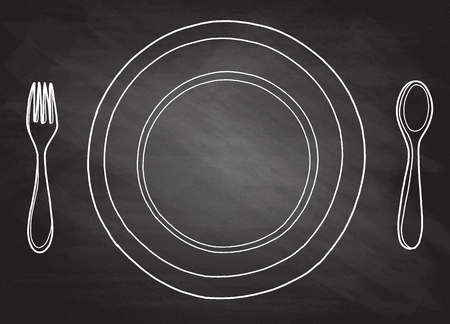 Esbozo de logotipo dibujado a mano de tinta de esquema a mano alzada en pluma de estilo retro de doodle de arte sobre papel. Cerrar la vista superior con espacio para texto, conjunto de objetos de herramientas de acero diner limpio aislado Foto de archivo - 82179265