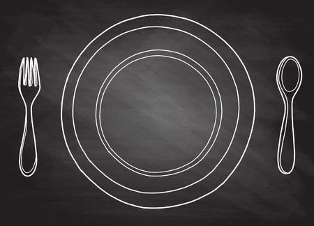 Hand gezeichnete Bildlogoskizze der freihändigen Entwurfstinte Hand im Kunstgekritzel-Retrostilstift auf Papier. Schließen Sie herauf Draufsicht mit Raum für Text, sauberes Restaurantstahlwerkzeugwaren-Gegenstandsatz lokalisiert Standard-Bild - 82179265