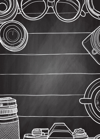 Hand Drawn Vector Illustration ,Top view of retro camera and lens, set of cool photography on wooden background, Close up top view with space for text,Voyage concept Çizim