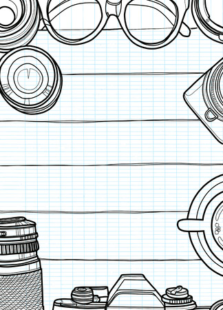 Hand Drawn Vector Illustration ,Top view of retro camera and lens, set of cool photography on wooden background, Close up top view with space for text,Voyage concept Ilustração