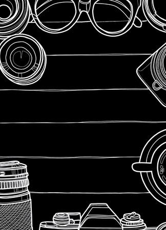 손으로 그린 벡터 일러스트 레이 션, 레트로 카메라와 렌즈의 상위 뷰, 목조 배경에 멋진 사진 설정 텍스트, 항해 개념 일러스트