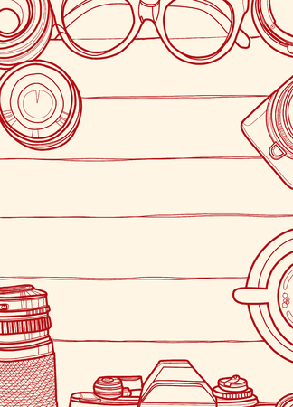 Hand Drawn Vector Illustration ,Top view of retro camera and lens, set of cool photography on wooden background, Close up top view with space for text,Voyage concept 向量圖像
