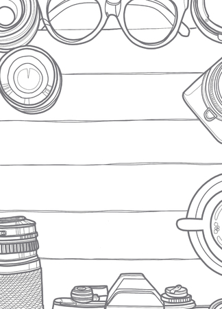 手ベクトル イラスト、レトロなカメラとレンズ、木製の背景のクールな写真の設定の平面図ビューをクローズ アップ トップ航海コンセプトのテキストのためのスペースと 写真素材 - 82344845