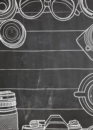 手ベクトル イラスト、レトロなカメラとレンズ、木製の背景のクールな写真の設定の平面図ビューをクローズ アップ トップ航海コンセプトのテキ