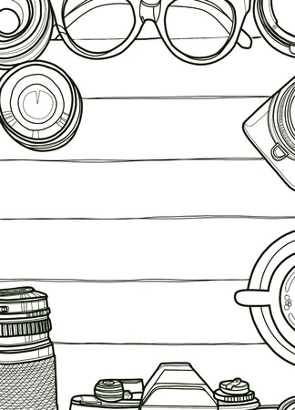 Hand Drawn Vector Illustration ,Top view of retro camera and lens, set of cool photography on wooden background, Close up top view with space for text,Voyage concept Illustration