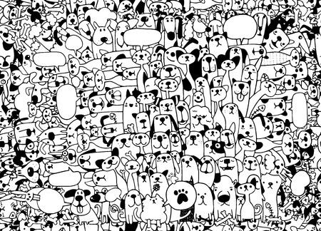 동물. 고양이와 개 벡터 패턴입니다. 손으로 그린 낙서 애완 동물입니다. 귀여운 고양이 개, 완벽 한 배경 doodle.vector 그림 일러스트