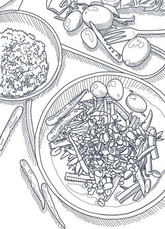 손으로 그린 벡터 일러스트 레이 션, 테이블 배경에 태국 음식. 위에서 볼. 작업 공간 조직 및 주문 개념