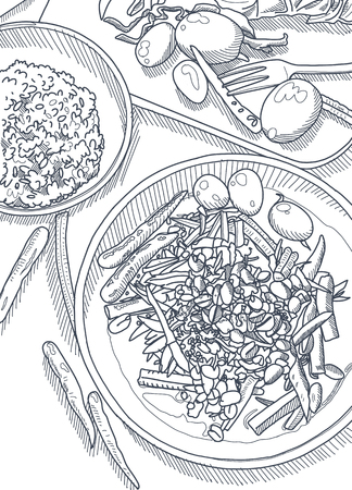 Hand Drawn Vector Illustration , Thai food on a  table background. View from above.workspace organization and order concept Çizim