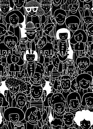 Hand drawings ,Group of people, sketch for your design. seamless background doodle,Vector illustration