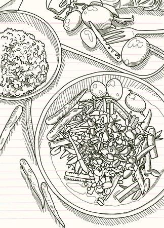 Hand getrokken vectorillustratie, Thais eten op een tafel achtergrond. Bekijk above.workspace organisatie en bestelconcept Stock Illustratie