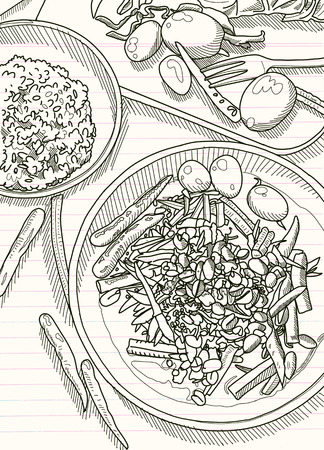 Hand Drawn Vector Illustration , Thai food on a  table background. View from above.workspace organization and order concept Illustration