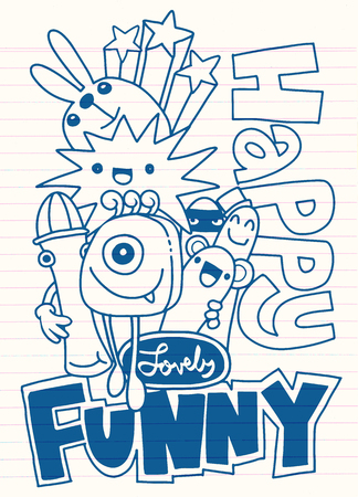 Hipster Hand drawn Crazy doodle Monster group, drawing style vector illustration
