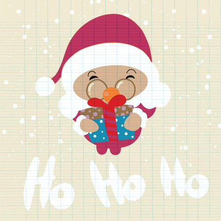 Santa Claus stand and smile. Cartoon Christmas holiday character. Cute vector illustration.