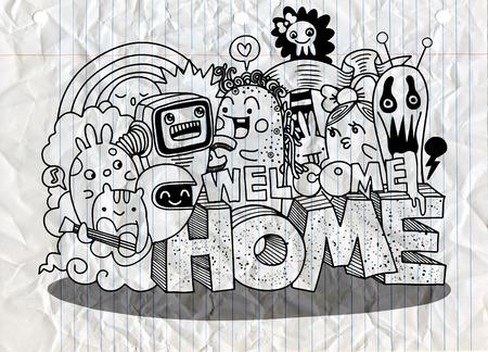 Bienvenido a casa. Hipster dibujado a mano Crazy doodle Monster group. Estilo de dibujo Ilustración vectorial Ilustración de vector