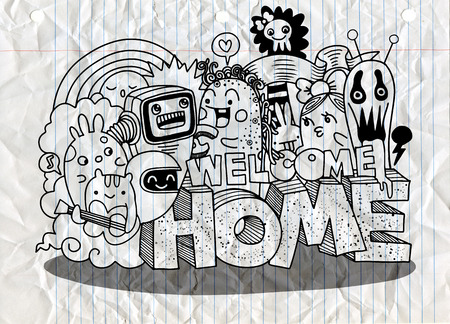 Welcome Home. Hipster Hand drawn Crazy doodle Monster group. Drawing style. Vector illustration