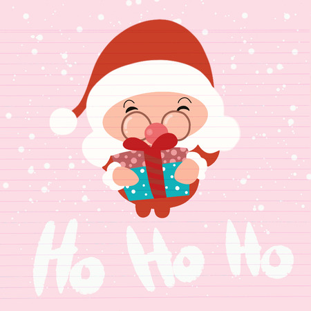 Santa Claus. Cartoon Christmas holiday character. Cute vector illustration.