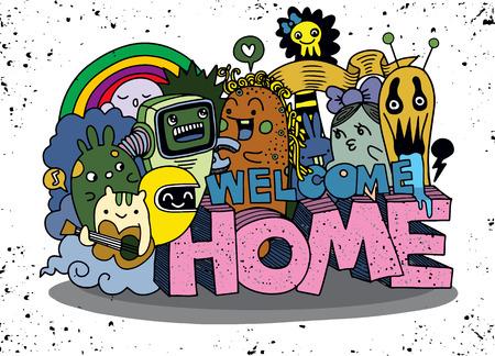 Welkom thuis. Hipster Hand getrokken Crazy doodle Monster-groep.