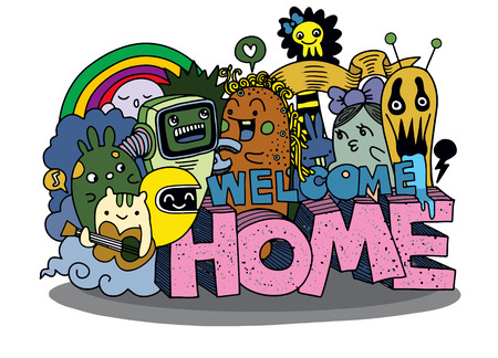 Welcome Home, Hipster Hand getrokken Crazy doodle Monster groep, tekening stijl. Vectorillustratie