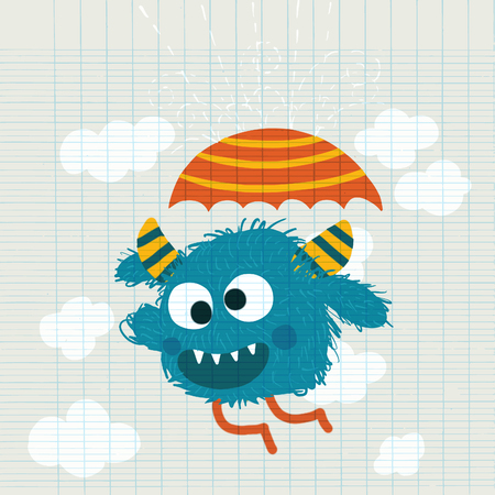 crazy monster holding umbrella,Happy funny childish little monster with umbrella in the rain,Cute vector illustration.