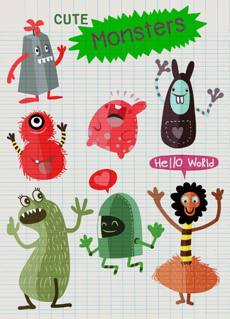 Cute Cartoon Monsters,Vector cute monsters set collection isolated ,Cute vector illustration.