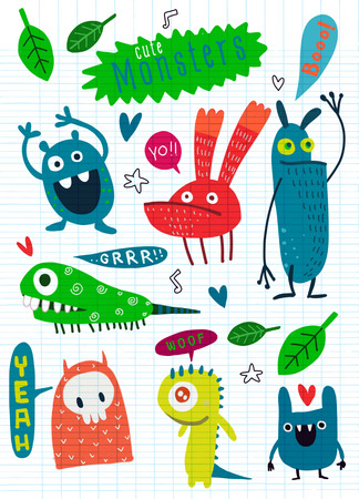 Cute Cartoon Monsters,Vector cute monsters set collection isolated,Cute vector illustration. Иллюстрация