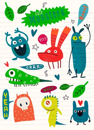 Cute Cartoon Monsters,Vector cute monsters set collection isolated,Cute vector illustration. 向量圖像