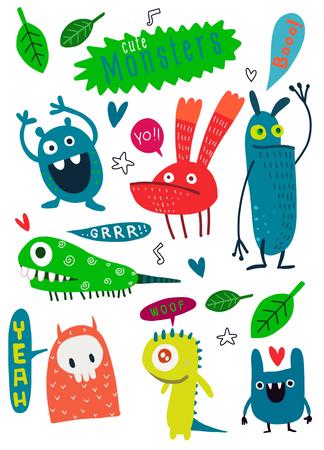 Cute Cartoon Monster, Vektor cute Monster Set Sammlung isoliert, Cute Vektor-Illustration. Vektorgrafik