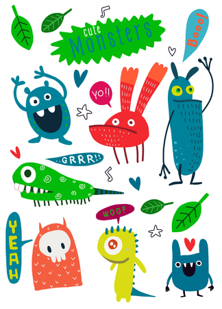 Cute Cartoon Monsters,Vector cute monsters set collection isolated,Cute vector illustration. Illusztráció