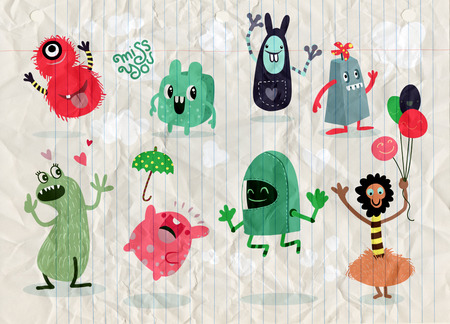 Cute Cartoon Monsters,Vector cute monsters set collection isolated,Cute vector illustration. Vettoriali