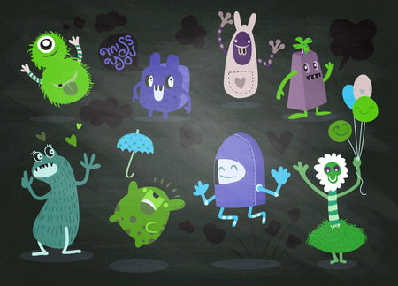 Cute Cartoon Monsters,Vector cute monsters set collection isolated,Cute vector illustration. Çizim