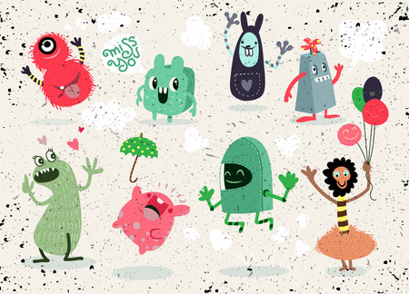 Cute Cartoon Monsters,Vector cute monsters set collection isolated,Cute vector illustration. Imagens - 82927150