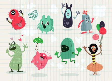 귀여운 만화 괴물, 벡터 귀여운 괴물 격리 컬렉션, 귀여운 벡터 일러스트를 설정합니다. 일러스트