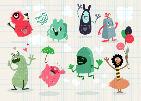 Cute Cartoon Monsters,Vector cute monsters set collection isolated,Cute vector illustration. Ilustração