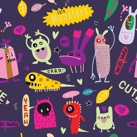 Cute Cartoon Monsters vectorillustratie.
