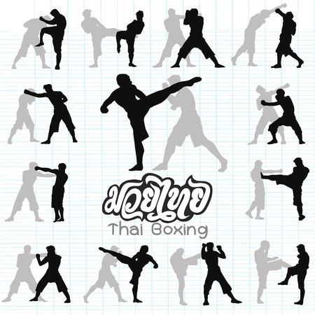 Thai boxing. Muay Thai martial art vector illustration collection.?Muay Thai (Popular Thai Boxing style) text, font, graphic vector. Muay Thai beautiful vector logo for gym or other