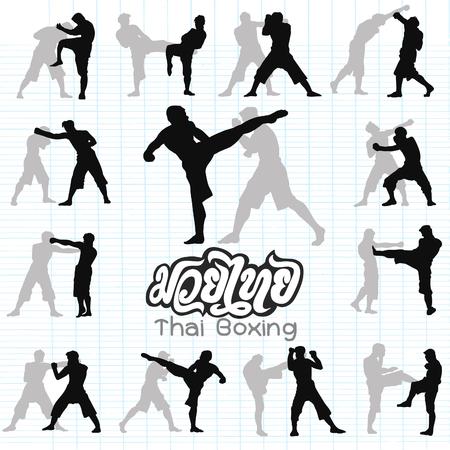 Thais boxen. Muay Thai krijgskunst vector illustratie collectie. Muay Thai (populaire Thaise in dozen doende stijl) tekst, lettertype, grafische vector. Muay Thai prachtige vector logo voor gym of andere