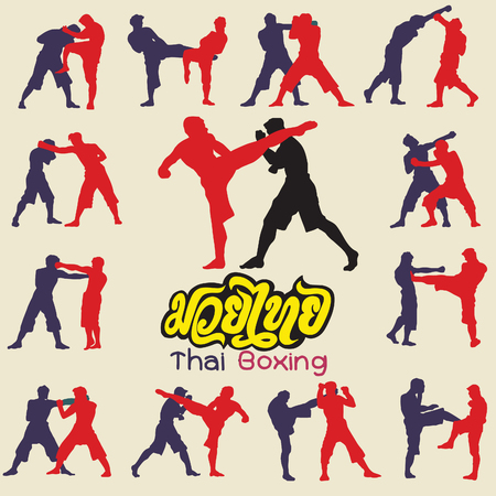 Thai boxing. Muay Thai martial art vector illustration collection. Muay Thai (Popular Thai Boxing style) text, font, graphic vector. Muay Thai beautiful vector logo for gym or other