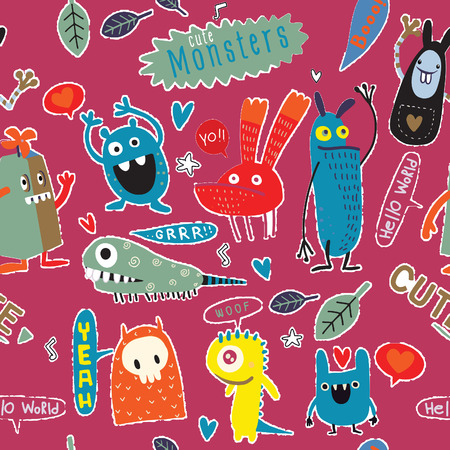 Cute Cartoon Monsters, Vector cute monsters set collection isolated.  Cute vector illustration. Ilustração