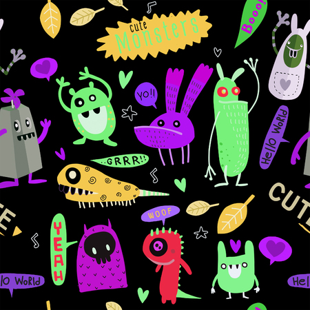Cute Cartoon Monsters, Vector cute monsters set collection isolated.  Cute vector illustration. Иллюстрация