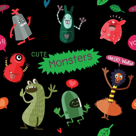 Cute Cartoon Monsters, Vector cute monsters set collection isolated.  Cute vector illustration. Illustration