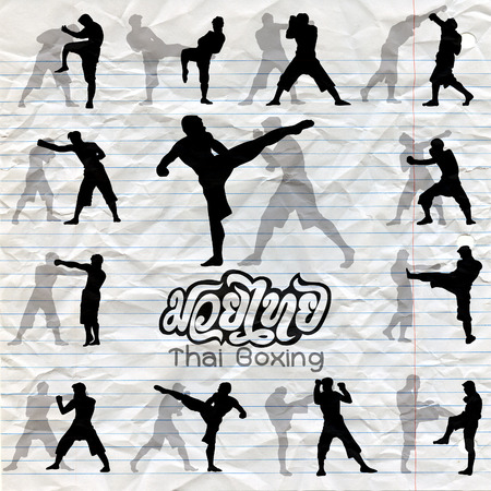 Thai boxing. Muay Thai martial art vector illustration collection.Muay Thai (Popular Thai Boxing style) text, font, graphic vector. Muay Thai beautiful vector logo for gym or other