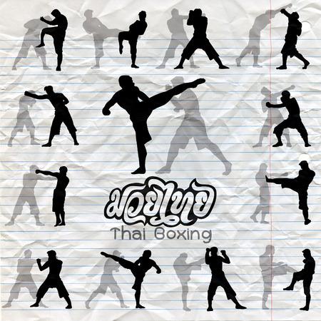 Thais boxen. Muay Thai krijgskunst vector illustratie collectie. Muay Thai (populaire Thaise in dozen doende stijl) tekst, doopvont, grafische vector. Muay Thai prachtige vector logo voor gym of andere