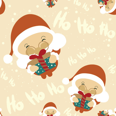 seamless , Santa Claus stand and smile. Cartoon Christmas holiday character.Vector illustration Illustration