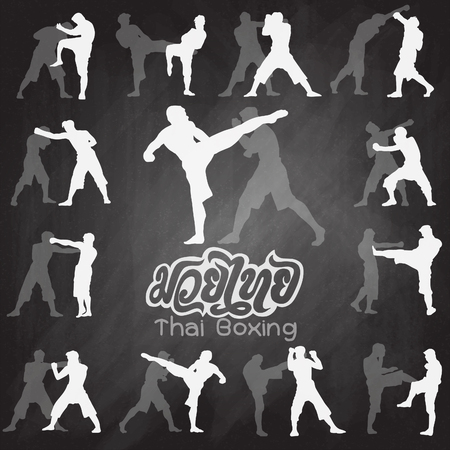 Thai boxing. Muay Thai martial art vector illustration collection.�Muay Thai (Popular Thai Boxing style) text, font, graphic vector. Muay Thai beautiful vector logo for gym or other