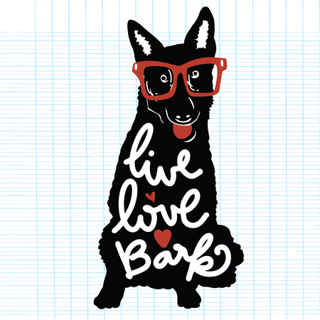 bark: Vector illustration. Vintage typography poster with stylish dog  in sunglasses. live love bark lettering quote. Trendy hipster style